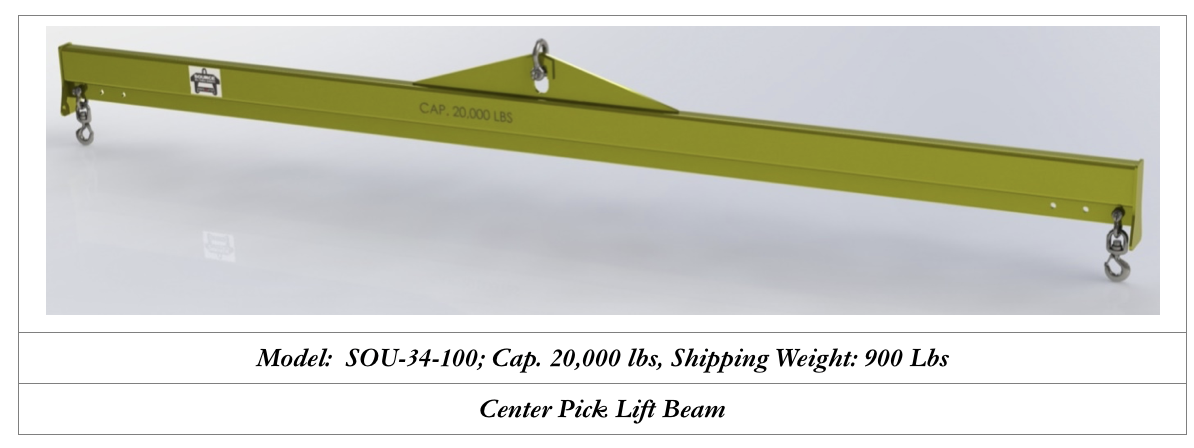center pick lifting beam 20000 pounds