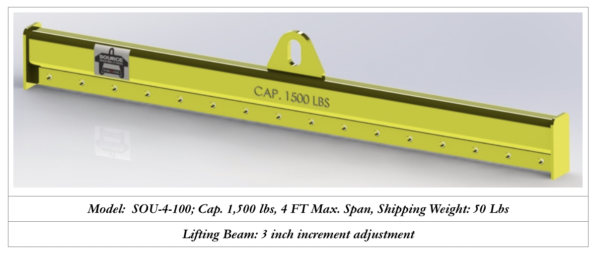 1500 lbs capacity lifting beam